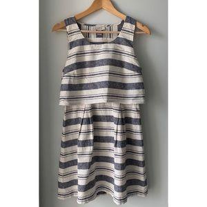 Ann Taylor Loft, Linen Mix, Blue & White Striped Open Back Dress size 4